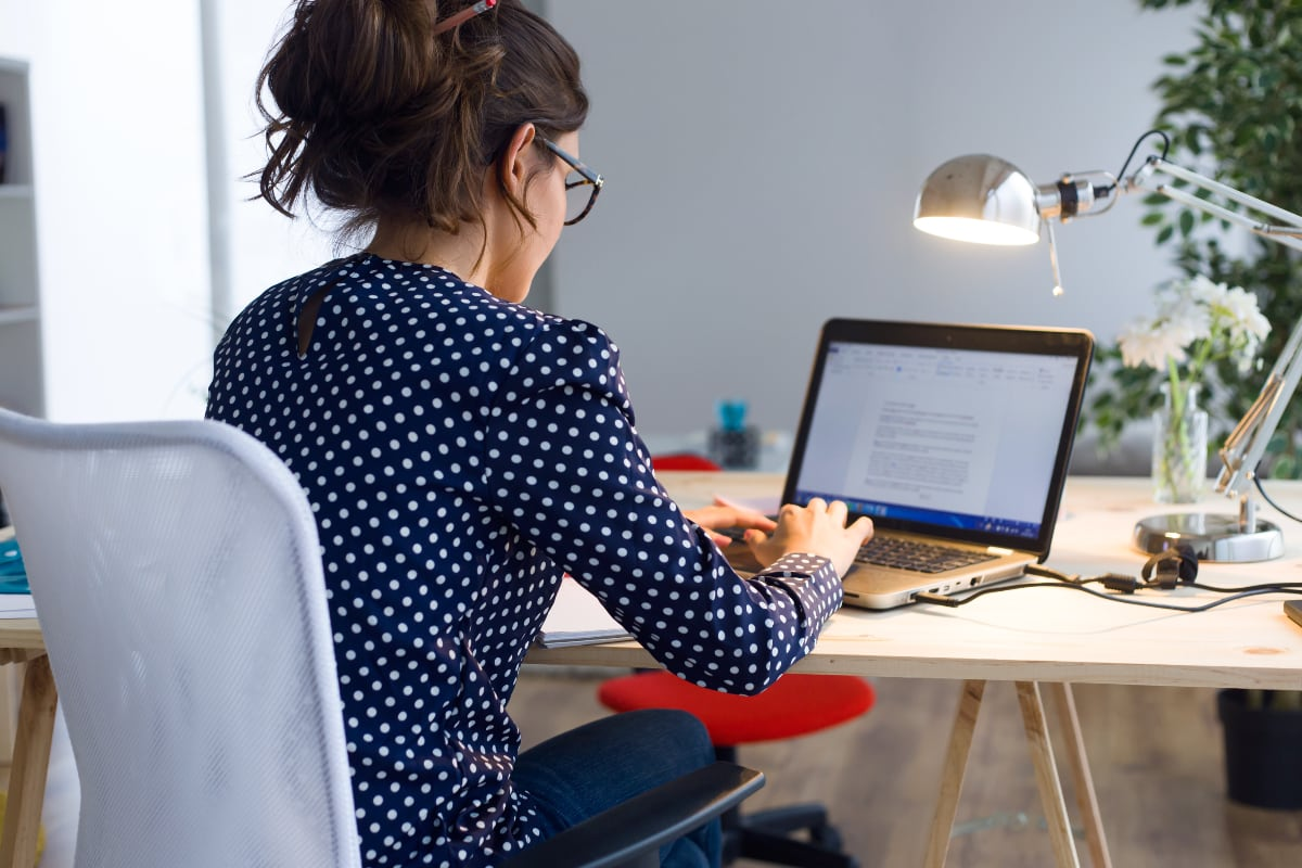 Woman using a notebook computer
