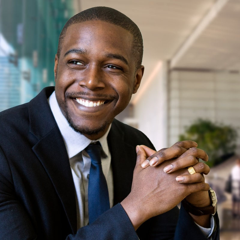 Young business man smiling