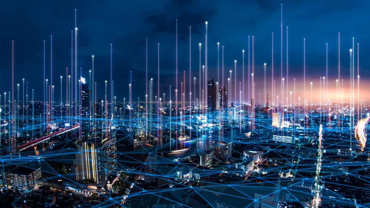 futuristic cityscape with digital lines connecting buildings